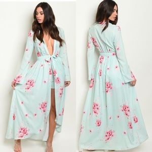 Long Sleeve Floral Print Duster Kimono Shorts Set